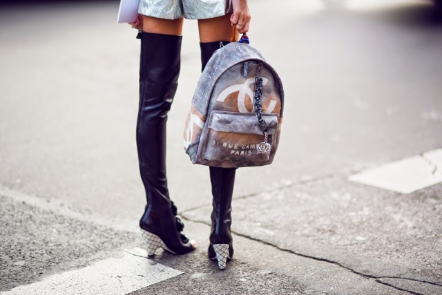 chanel graffiti backpack-street style-black boots-faion-chanel-bags-front row blog