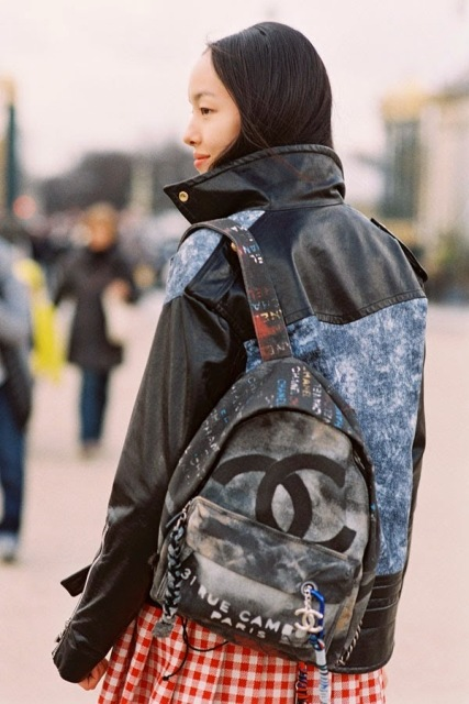 chanel graffiti backpack-street style-perfect jacket-chanel-bags-front row blog
