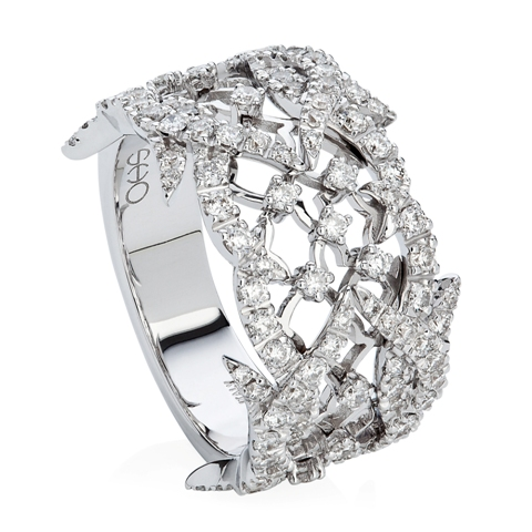 Paradis Feather Band Ring in 18ct white gold and diamonds