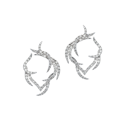 Paradis Plume Hoop Earrings in 18ct white gold and diamonds