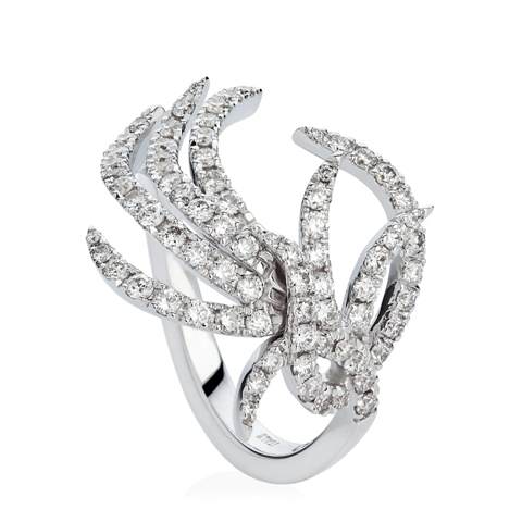 Paradis Plume Ring in 18ct white gold and diamonds