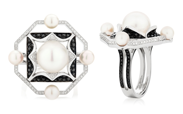 Sarah Ho Couture Origami Noir rings, 18ct white gold, black and white diamonds and South Sea Pearls