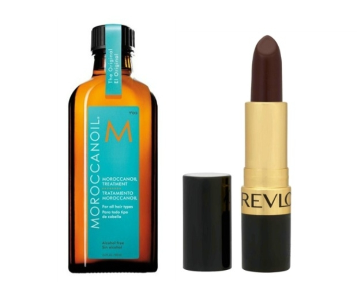 Moroccan Oil Treatment and Revlon Super Lustrous Lipstick in Black Cherry