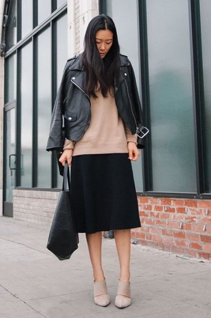 interview-outfit-idea-camel-sweater-midi-skirt-leather-jacket-andy-heart-h724
