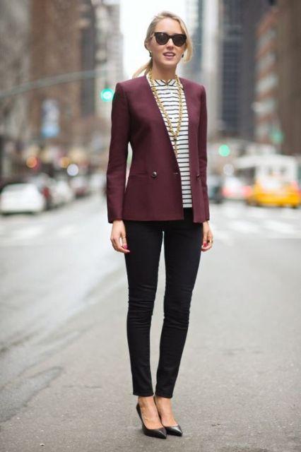 interview-outfit-idea-striped-top-pants-blazer-memorandum-h724
