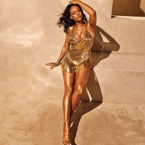Rihanna-Gold-Minidress-Fenty-Beauty