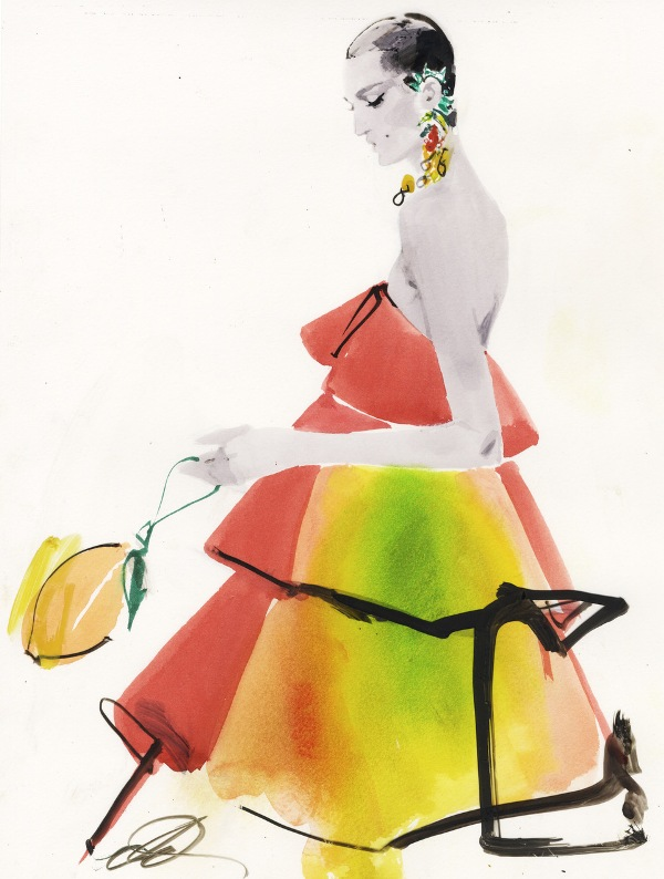 Mango Met Gala dress_Illustration by David Downton