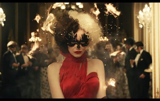 Emma-Stone-Red-Dress-in-Disney-Cruella-Trailer